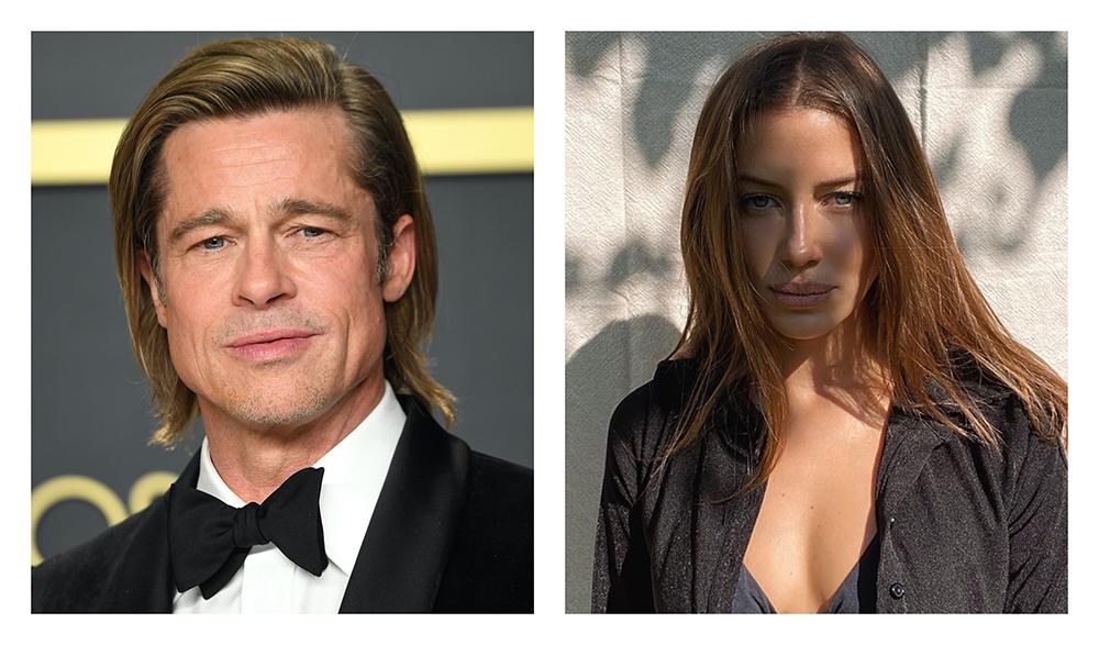 Brad Pitt sin modellkjæreste Nicole Poturalski på catwalken for Hugo Boss under Milan Fashion Week