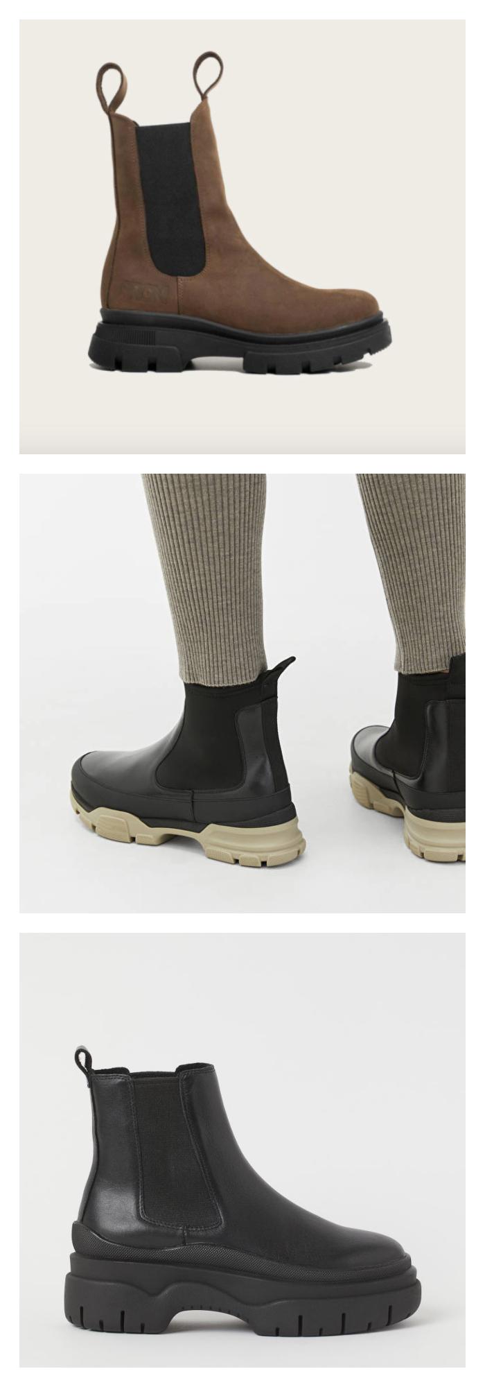 Bilde av brune boots, et par sorte og beige boots og sorte boots