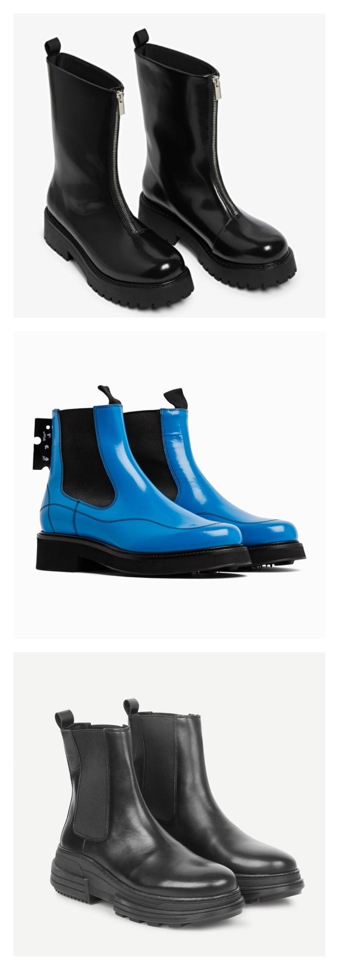 Bilde av skinnende sorte boots, skinnende blå boots og sorte boots