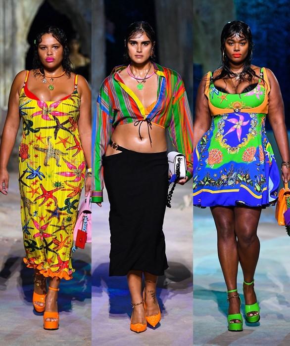 Plus-size modeller på catwalken for Versace