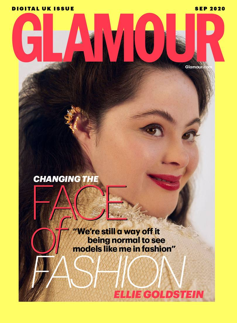 Ellie Goldstein på forsiden av Glamour Magazine