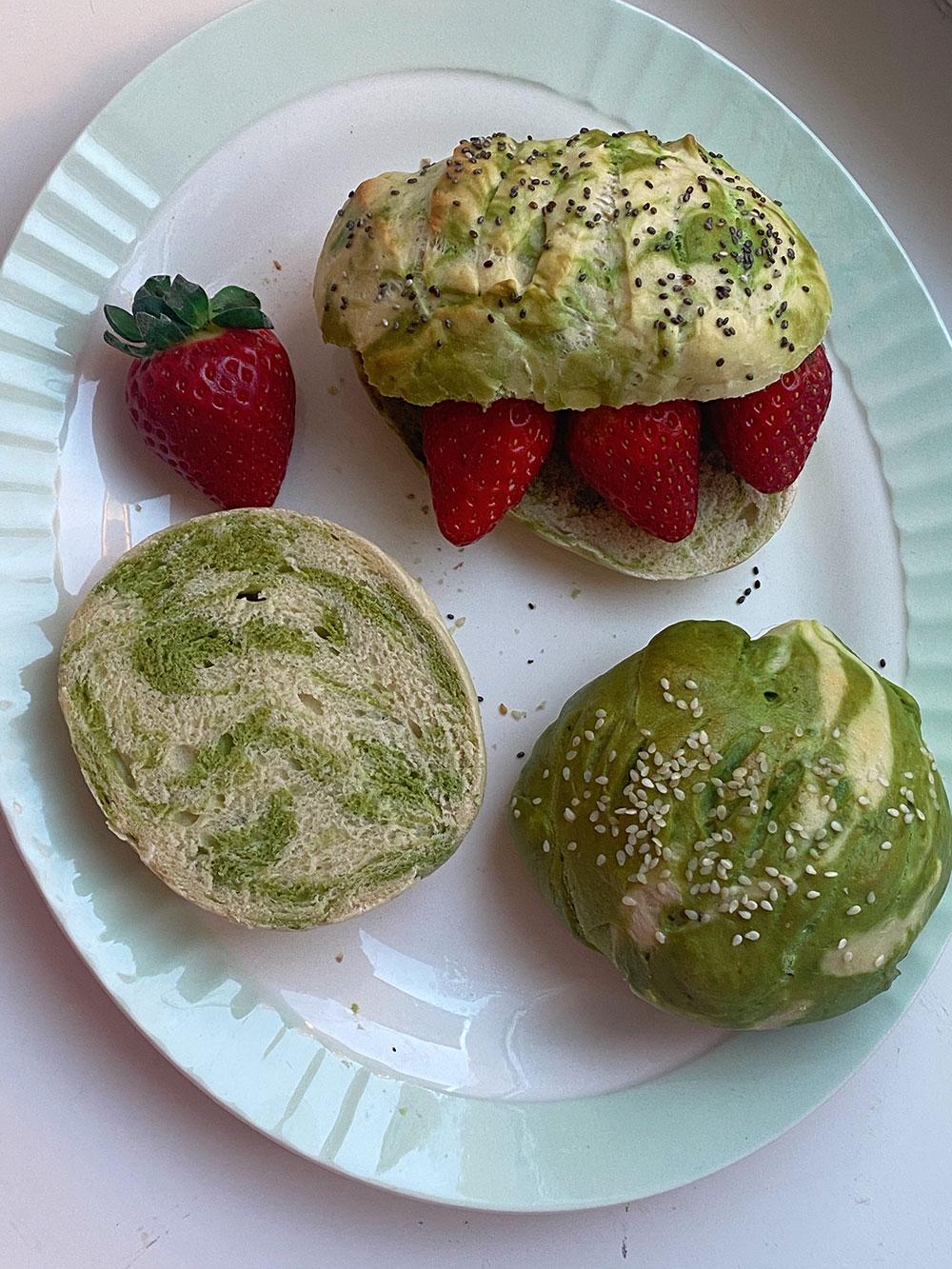 Matchaboller med jordbær