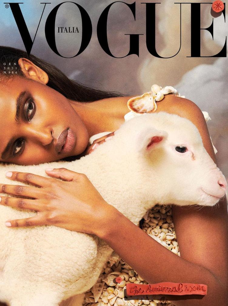 Vogue Italia satte dyr på forsiden i januar